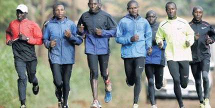 National Cross Country men's team (from left) Leonard Barsoton, Japheth Korir, Conseslus Kipruto, Jonathan Ndiku, Moses Mukono and Geofrey Kirui train at Runyenjes, March 18, 2013.