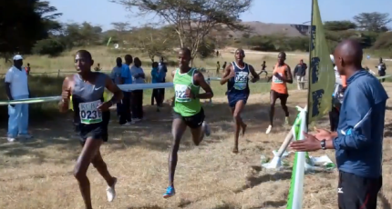 Moses Mukuno (#222 in green) at the National Junior Cross Country Championship, Nairobi, February 16, 2013.